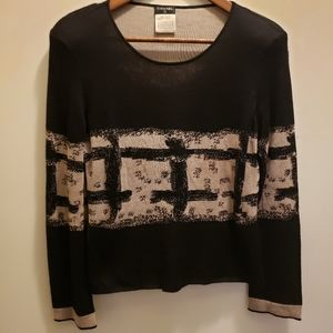 Chanel Cashmere Blend Black & Tan Sweater